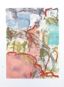 Threads of Pink VI, Claudia Mengel, work on paper, monotype