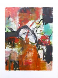 Threads of Pink VII, Claudia Mengel, work on paper, monotype